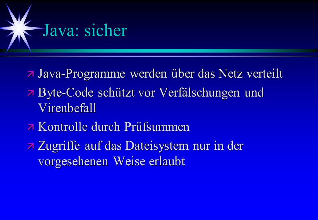 Java: sicher Java-Programme werden über das Netz verteilt