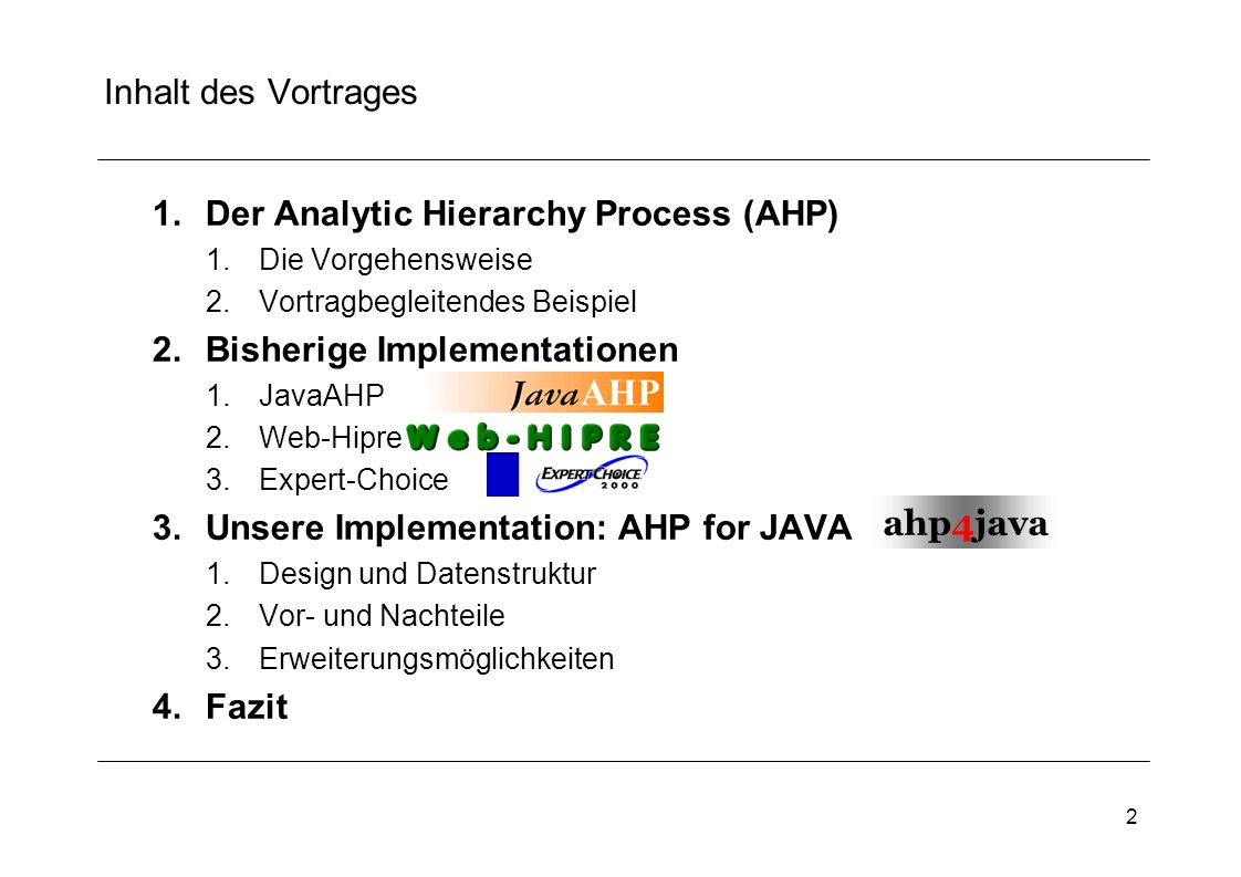 Der Analytic Hierarchy Process (AHP)