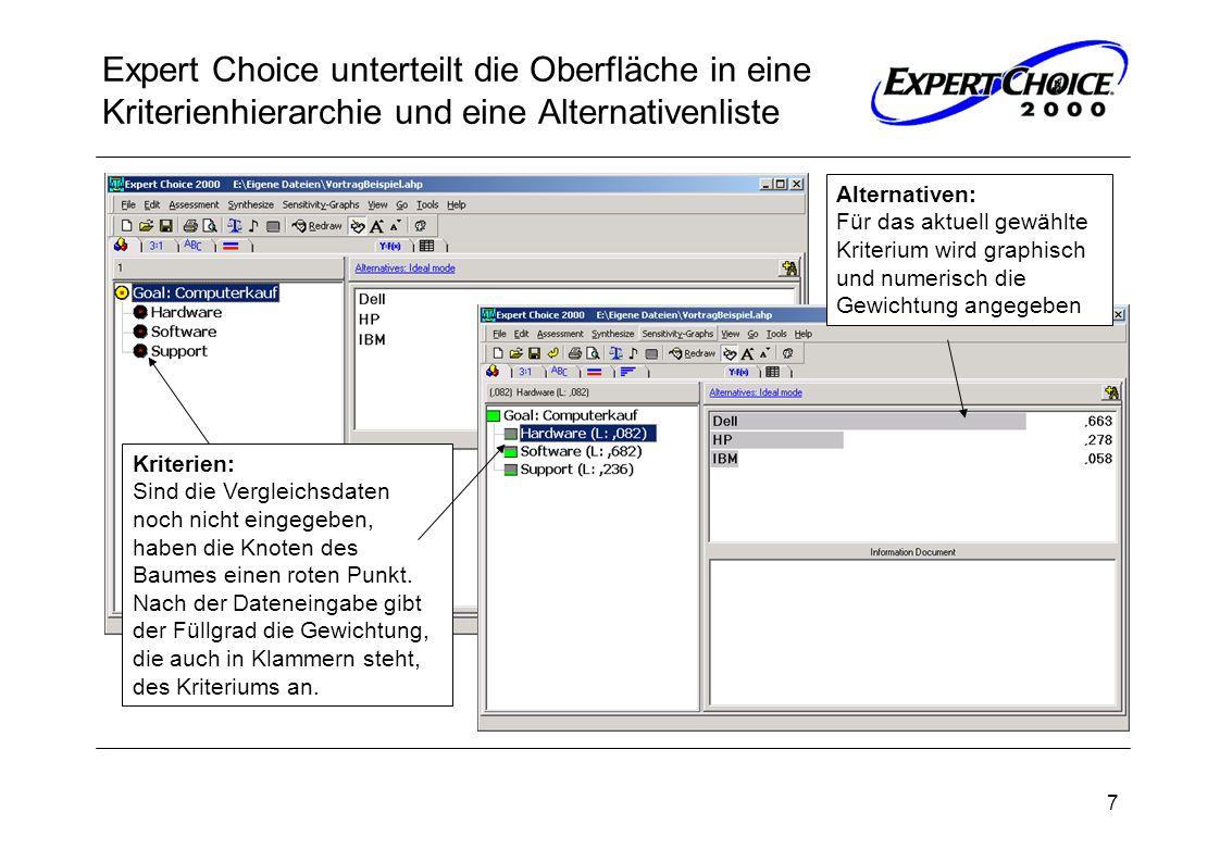 Expert Choice unterteilt die Oberfläche in eine Kriterienhierarchie und eine Alternativenliste