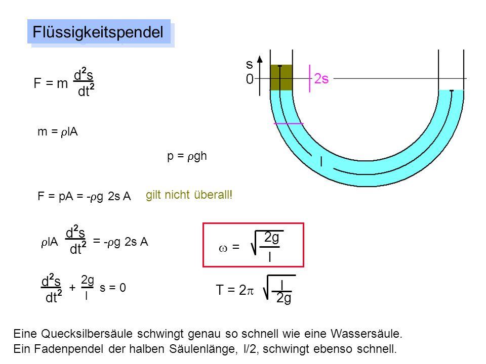 Flüssigkeitspendel d2s F = m dt2 d2s 2g dt2 w = l d2s l T = 2p dt2 2g