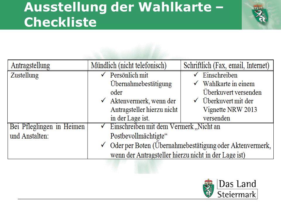 Ausstellung der Wahlkarte – Checkliste