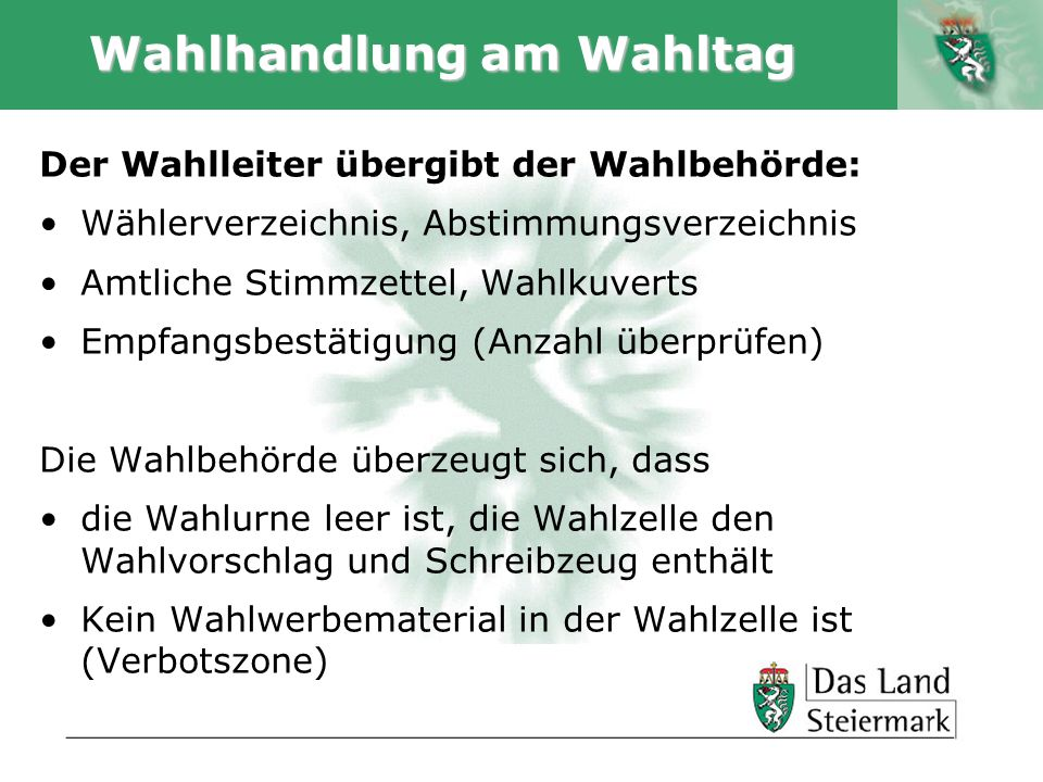Wahlhandlung am Wahltag