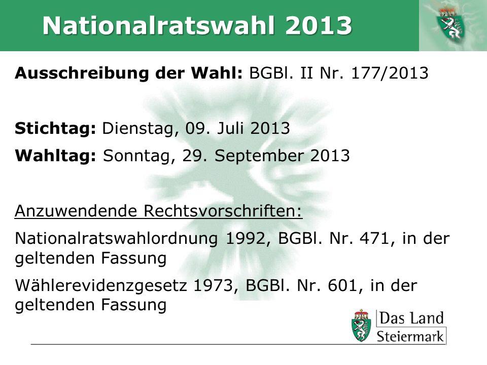Nationalratswahl 2013 Ausschreibung der Wahl: BGBl. II Nr. 177/2013