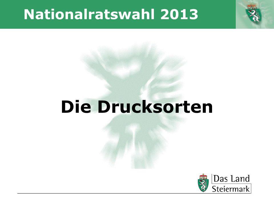 Nationalratswahl 2013 Die Drucksorten