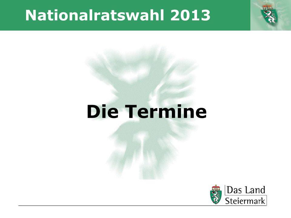 Nationalratswahl 2013 Die Termine