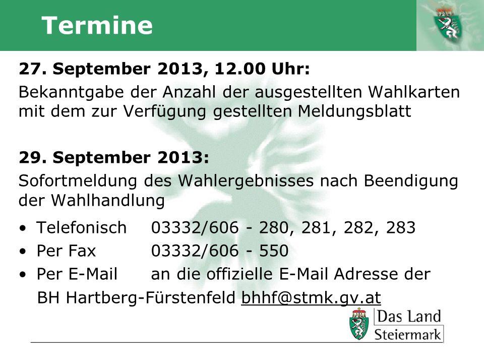 Termine 27. September 2013, 12.00 Uhr: