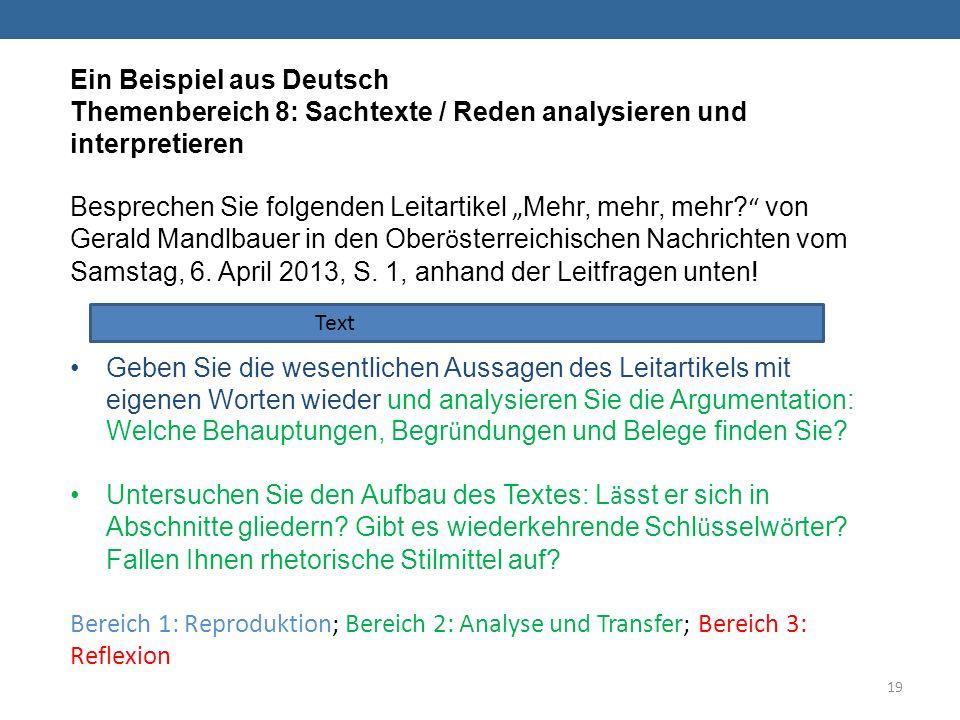 Ein Beispiel aus Deutsch