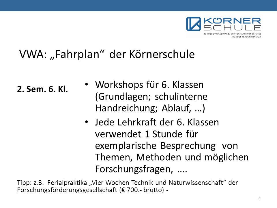 "VWA: ""Fahrplan der Körnerschule"