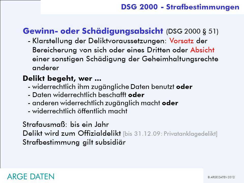 Gewinn- oder Schädigungsabsicht (DSG 2000 § 51)
