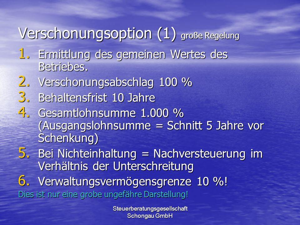 Verschonungsoption (1) große Regelung
