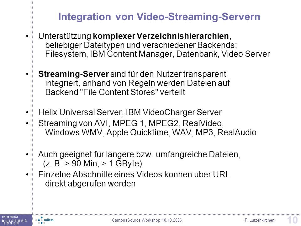 Integration von Video-Streaming-Servern