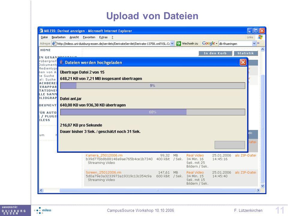 Upload von Dateien F. Lützenkirchen