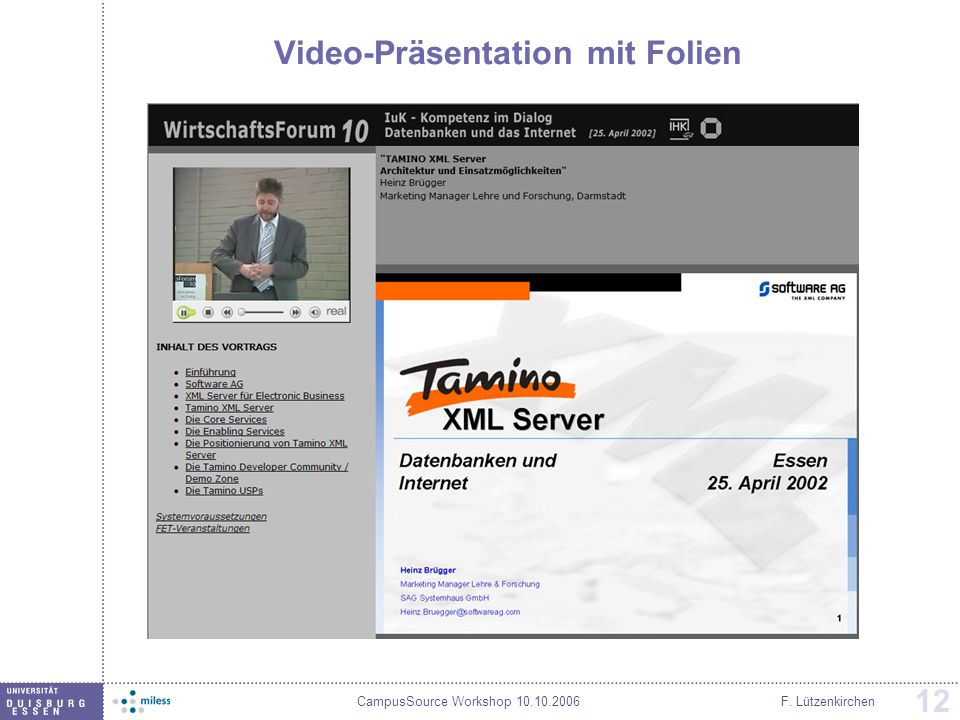 Video-Präsentation mit Folien