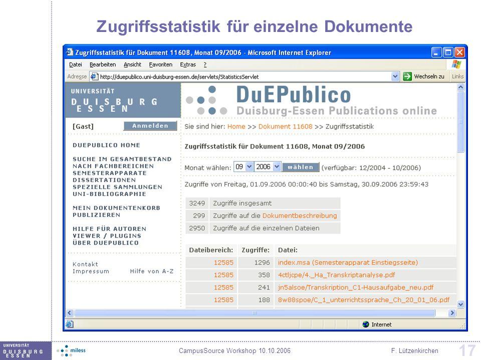 Zugriffsstatistik für einzelne Dokumente