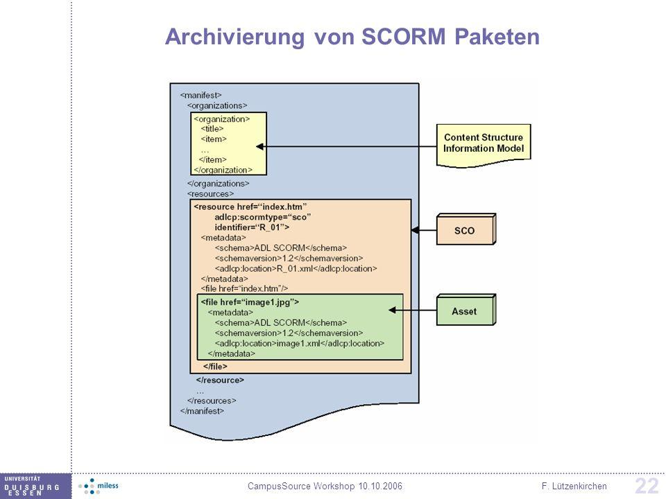 Archivierung von SCORM Paketen
