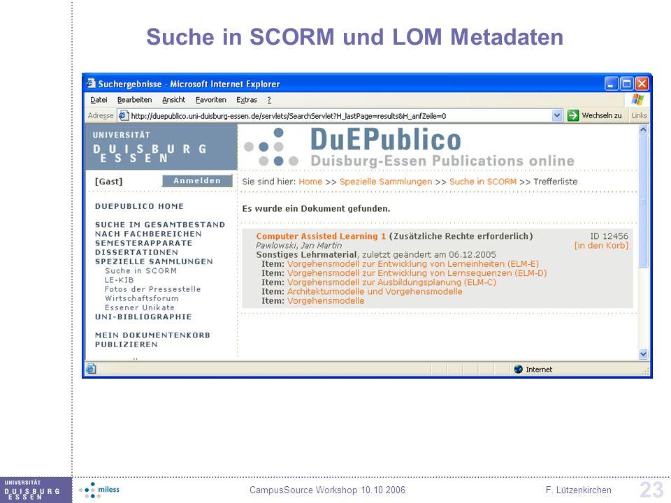 Suche in SCORM und LOM Metadaten