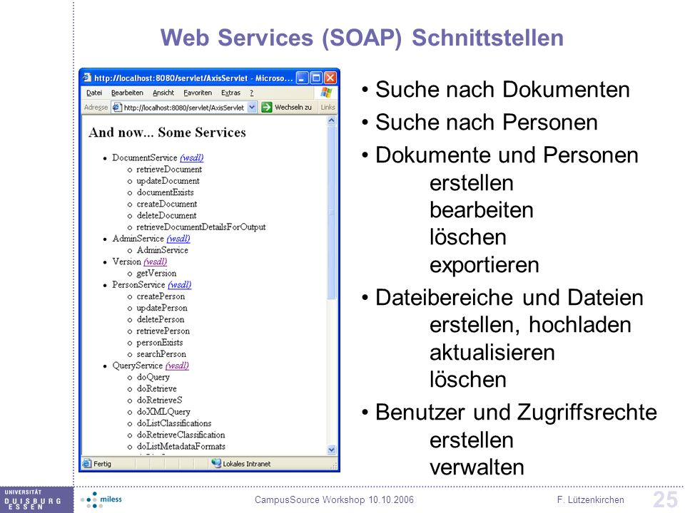 Web Services (SOAP) Schnittstellen