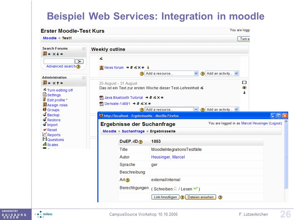 Beispiel Web Services: Integration in moodle