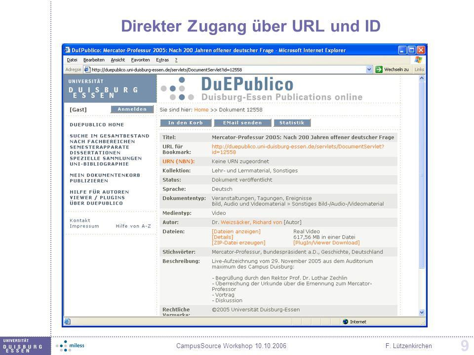 Direkter Zugang über URL und ID