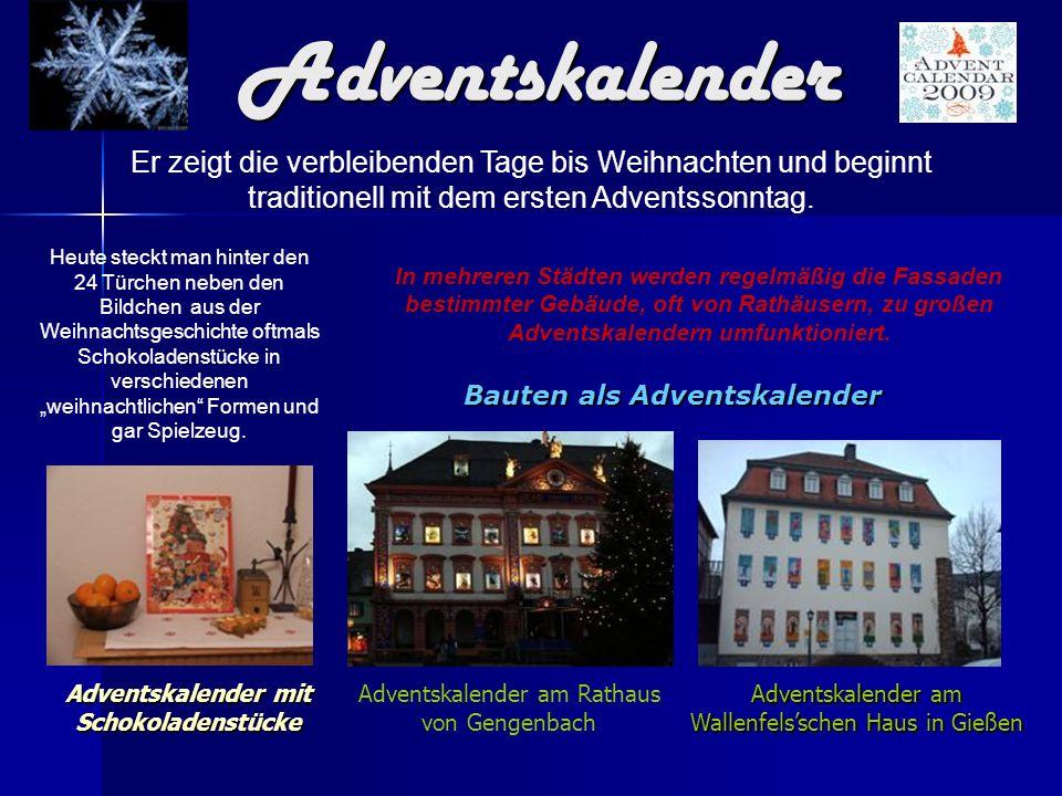 Bauten als Adventskalender Adventskalender mit Schokoladenstücke