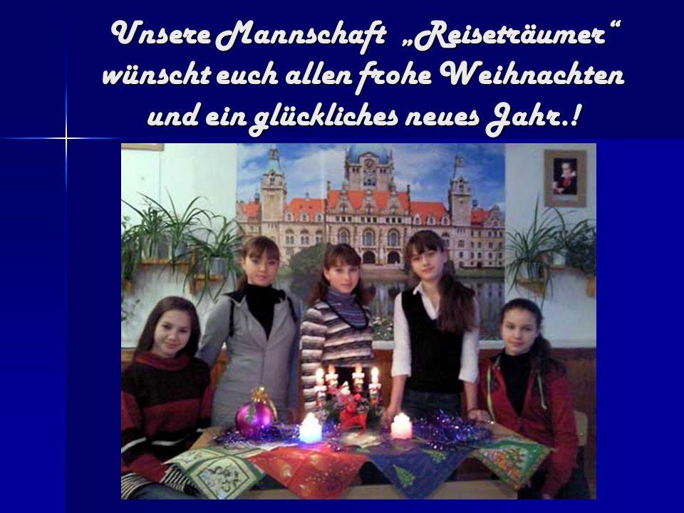 """Unsere Mannschaft """"Reiseträumer wünscht euch allen frohe Weihnachten und ein glückliches neues Jahr.!"""