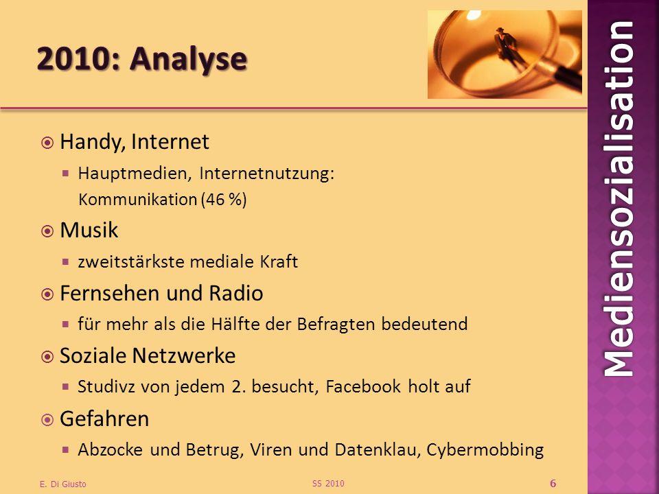 2010: Analyse Handy, Internet Musik Fernsehen und Radio