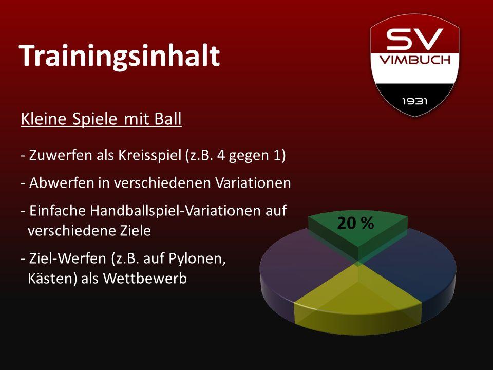 Trainingsinhalt Kleine Spiele mit Ball 20 %