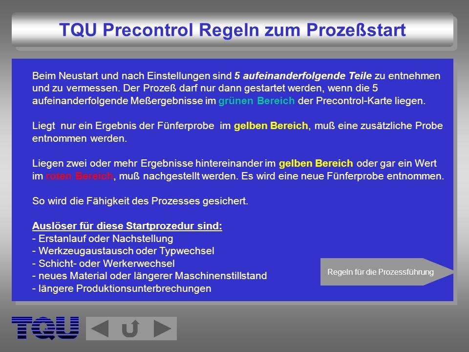 TQU Precontrol Regeln zum Prozeßstart
