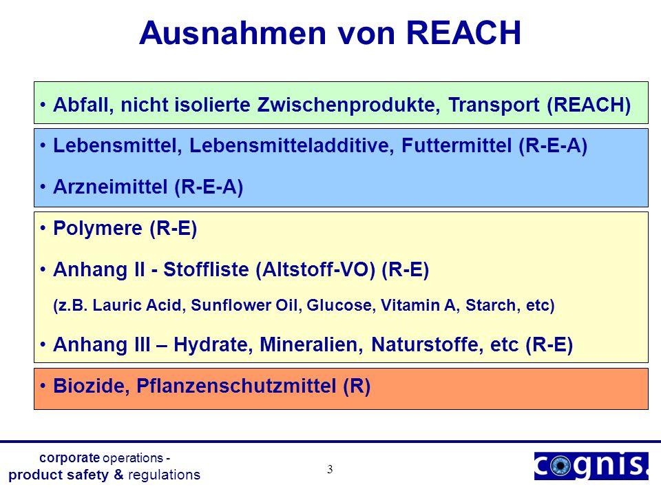 Ausnahmen von REACH Abfall, nicht isolierte Zwischenprodukte, Transport (REACH) Lebensmittel, Lebensmitteladditive, Futtermittel (R-E-A)