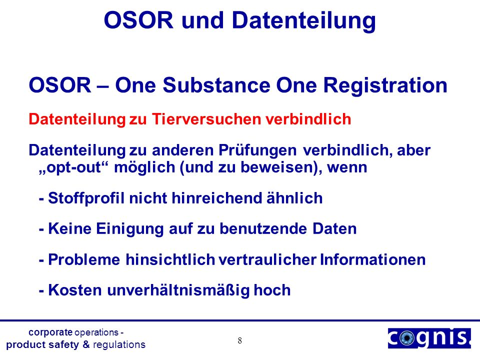 OSOR und Datenteilung OSOR – One Substance One Registration