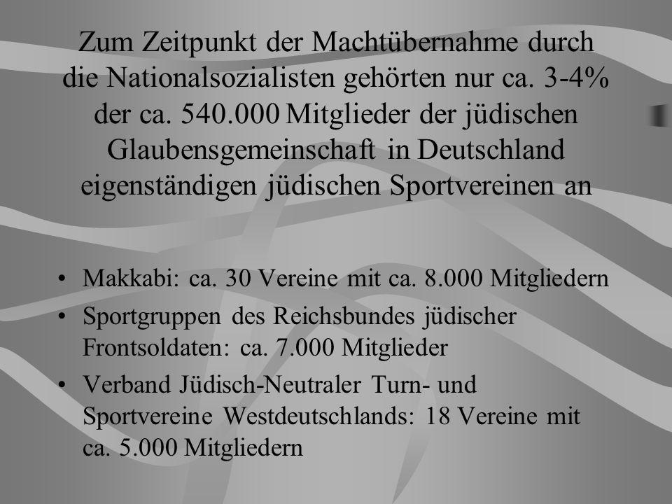 Zum Zeitpunkt der Machtübernahme durch die Nationalsozialisten gehörten nur ca. 3-4% der ca. 540.000 Mitglieder der jüdischen Glaubensgemeinschaft in Deutschland eigenständigen jüdischen Sportvereinen an