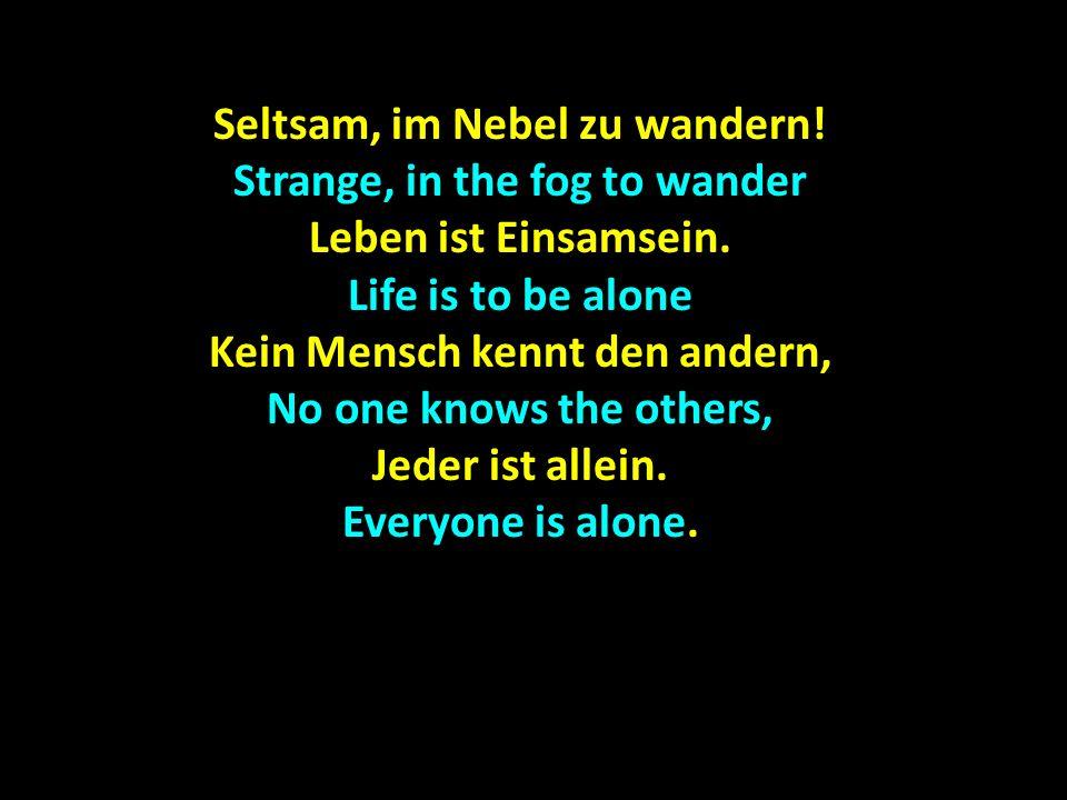 Seltsam, im Nebel zu wandern! Strange, in the fog to wander