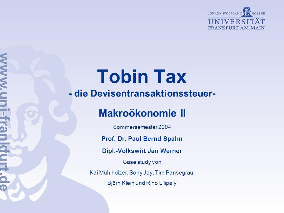 Tobin Tax - die Devisentransaktionssteuer-