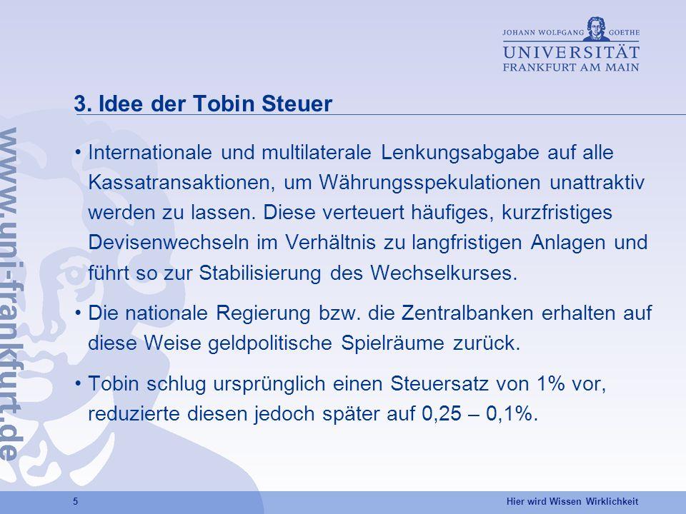 3. Idee der Tobin Steuer