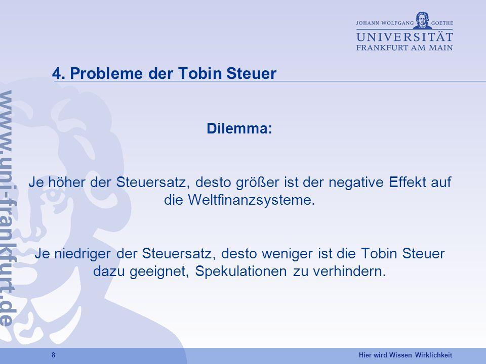 4. Probleme der Tobin Steuer