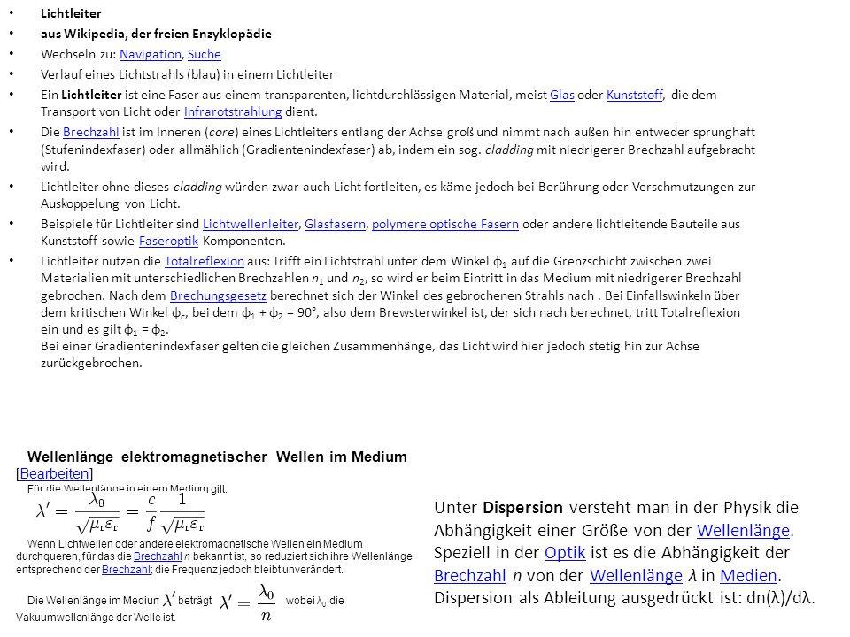Lichtleiter aus Wikipedia, der freien Enzyklopädie. Wechseln zu: Navigation, Suche. Verlauf eines Lichtstrahls (blau) in einem Lichtleiter.