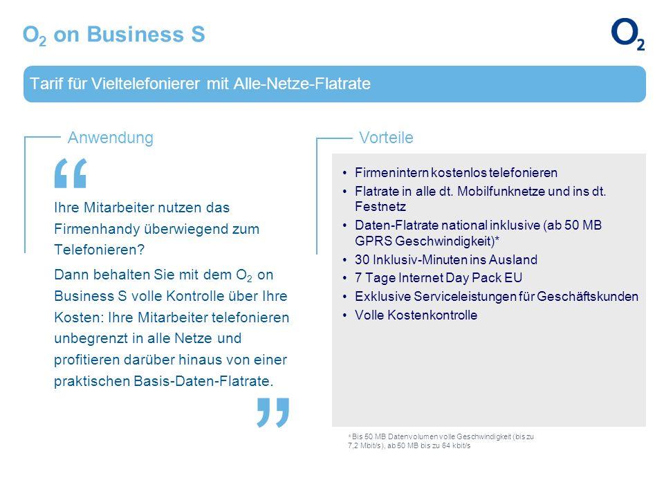 O2 on Business S Tarif für Vieltelefonierer mit Alle-Netze-Flatrate