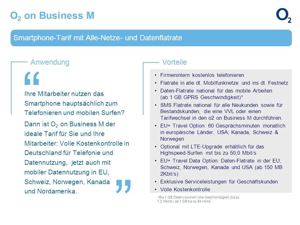 O2 on Business M Smartphone-Tarif mit Alle-Netze- und Datenflatrate