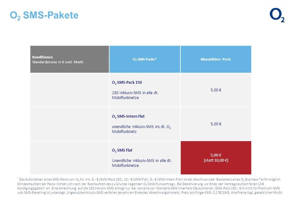 O2 SMS-Pakete Konditionen Standardpreise in € exkl. MwSt.