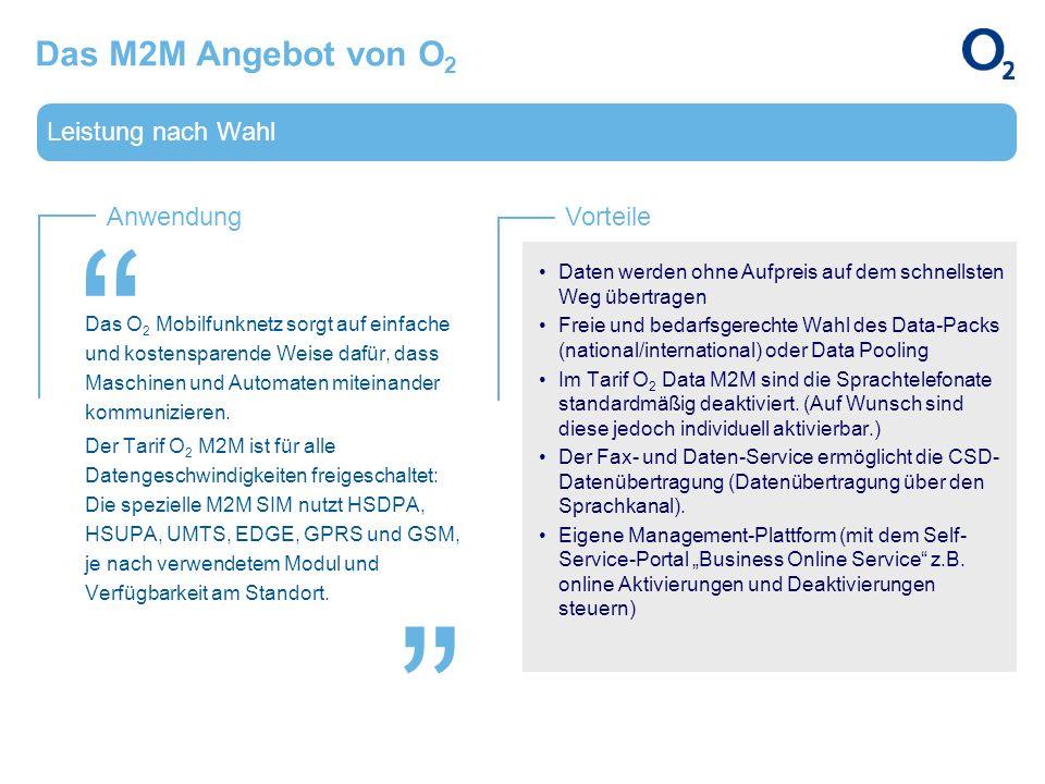 Das M2M Angebot von O2 Leistung nach Wahl