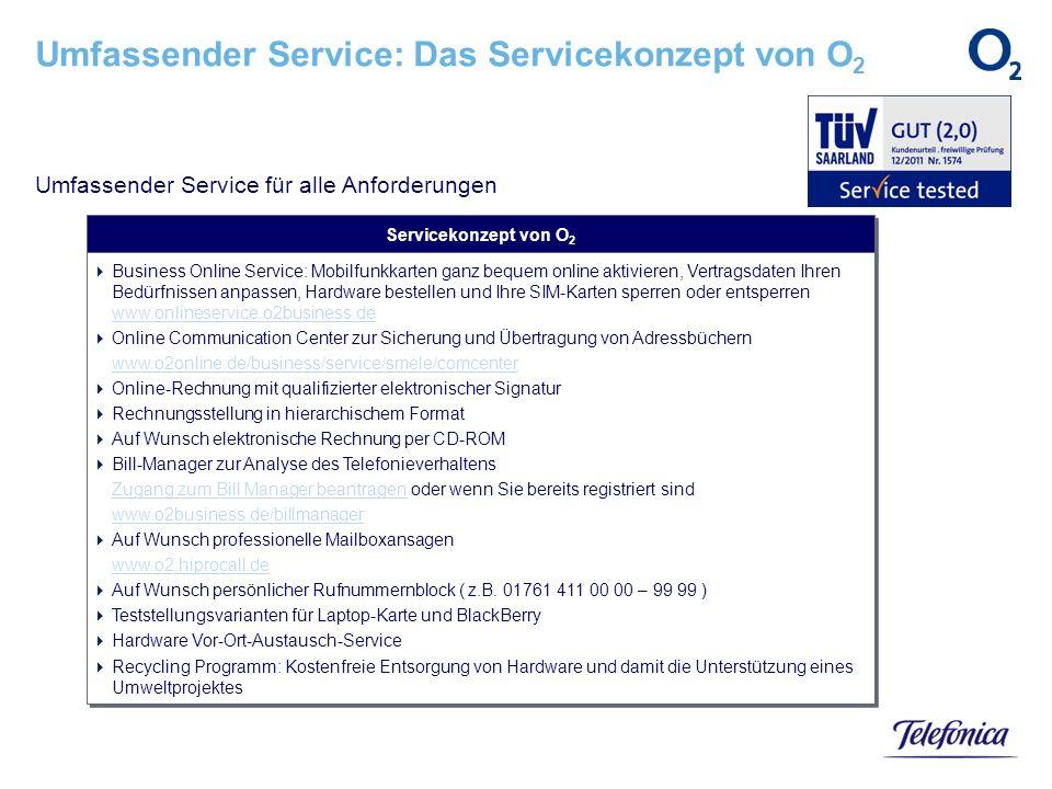 Umfassender Service: Das Servicekonzept von O2