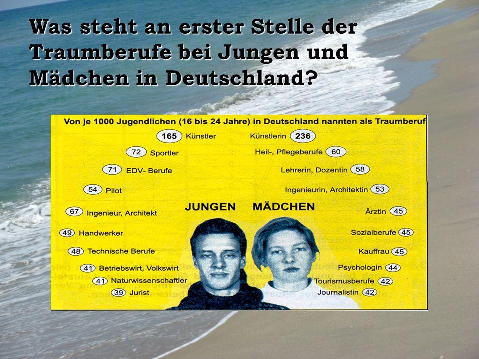Was steht an erster Stelle der Traumberufe bei Jungen und Mädchen in Deutschland