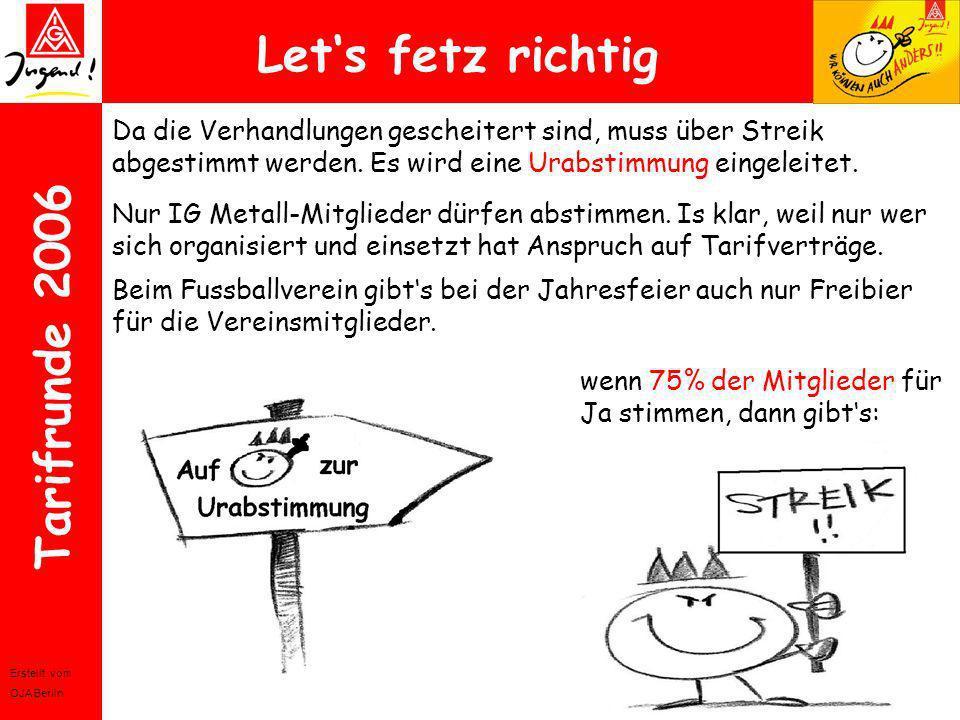 Let's fetz richtig Da die Verhandlungen gescheitert sind, muss über Streik abgestimmt werden. Es wird eine Urabstimmung eingeleitet.