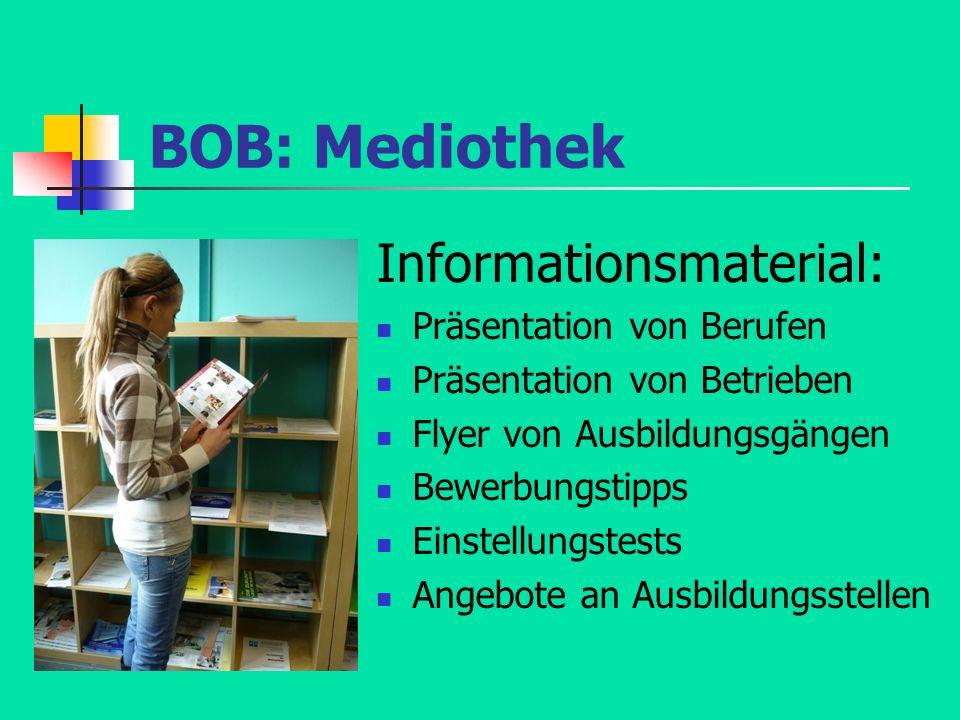 BOB: Mediothek Informationsmaterial: Präsentation von Berufen