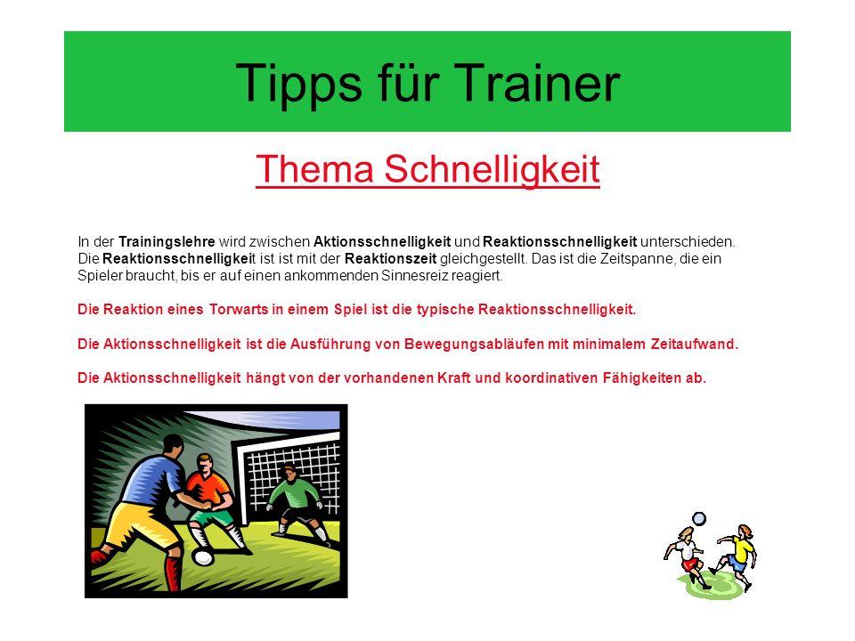 Tipps für Trainer Thema Schnelligkeit