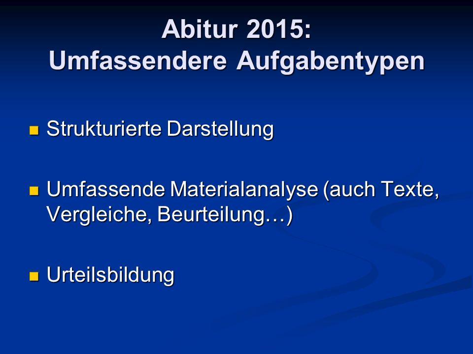 Abitur 2015: Umfassendere Aufgabentypen