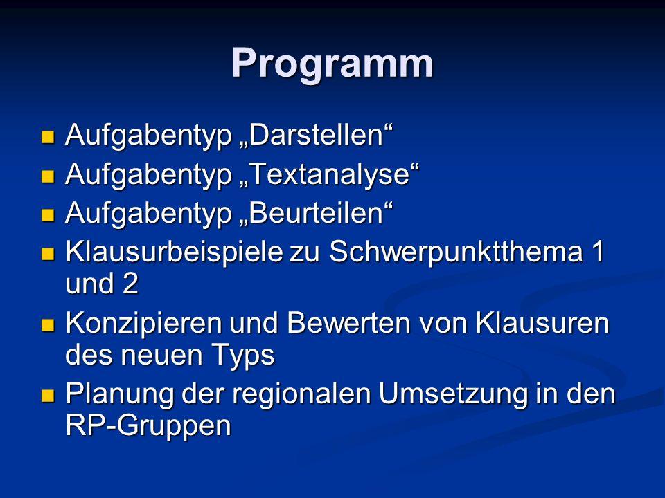 """Programm Aufgabentyp """"Darstellen Aufgabentyp """"Textanalyse"""