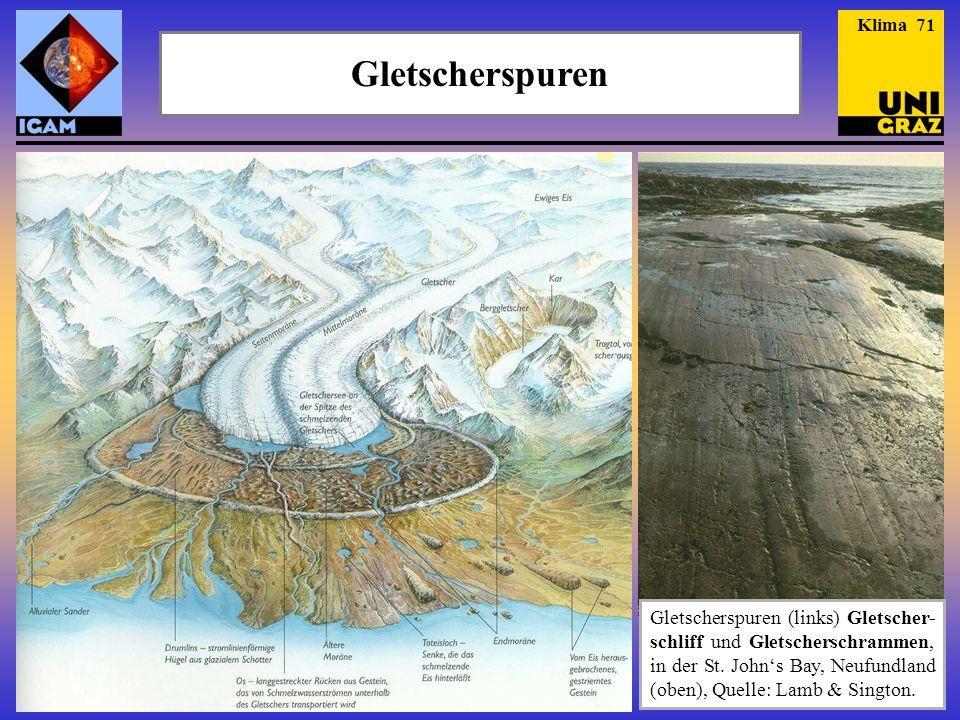 Klima 71 Gletscherspuren. Genaueres zu Gletschern folgt in den Juni-Vorlesungen.