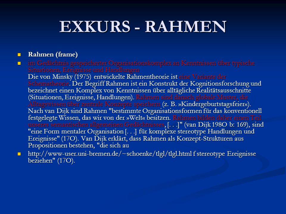 EXKURS - RAHMEN Rahmen (frame)
