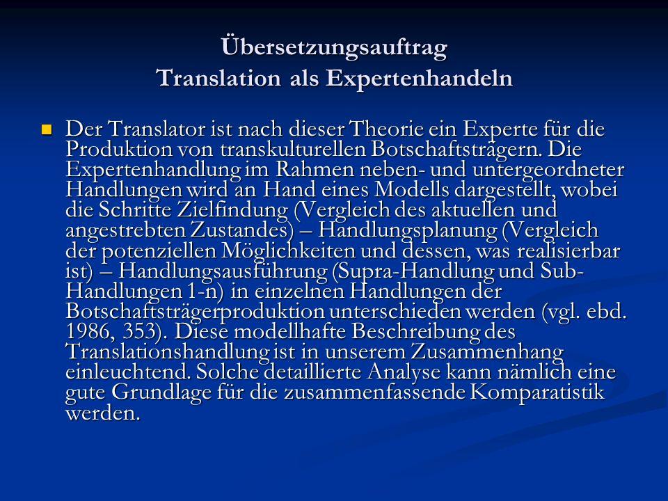Übersetzungsauftrag Translation als Expertenhandeln